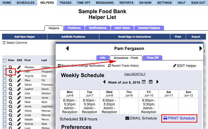 Print individual schedule