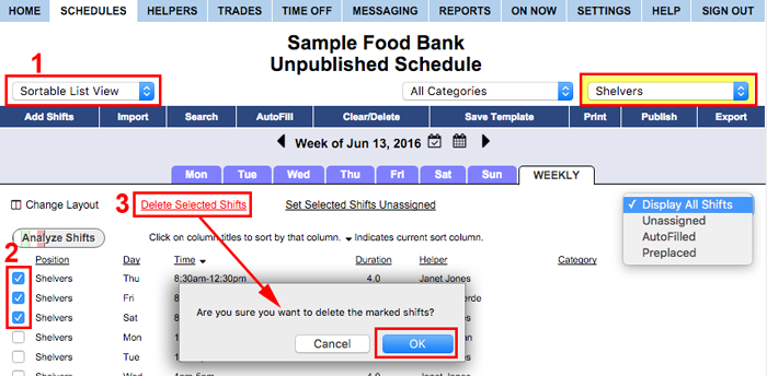 Sortable list view delete shifts