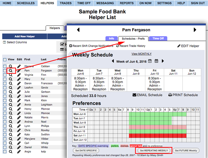 Set weekly preferences for a helper
