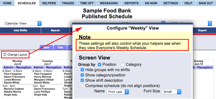 Controlling Helper's display on everyone's schedule view