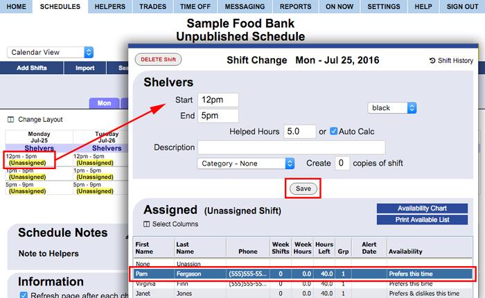 assign helper by calendar view