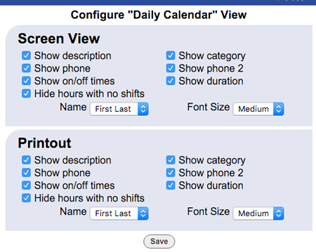 calendar view configure layout