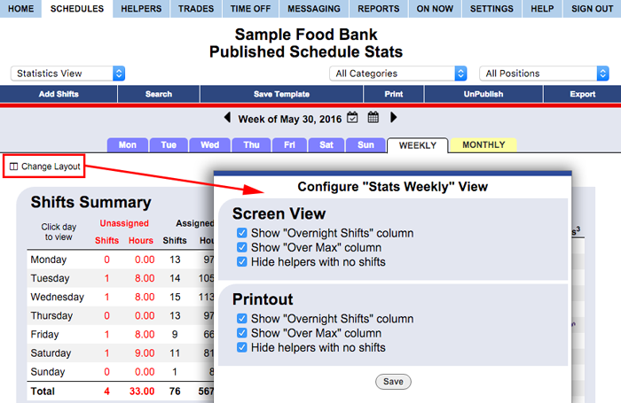 stats view weekly configure change layout