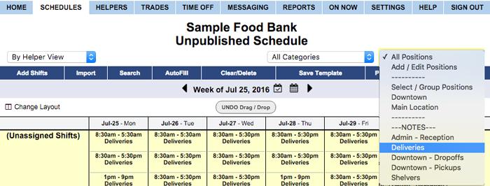 filter schedule view