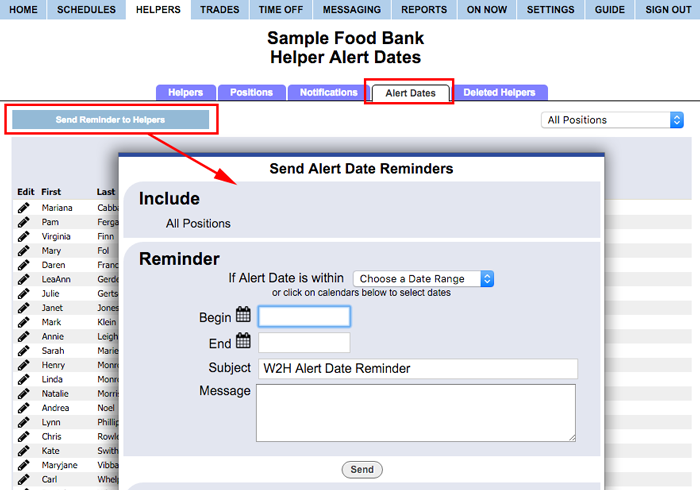 send alert date reminders